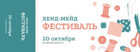 Nifty Crafts Fest with Threads and Buttons Ticket – шаблон для дизайна