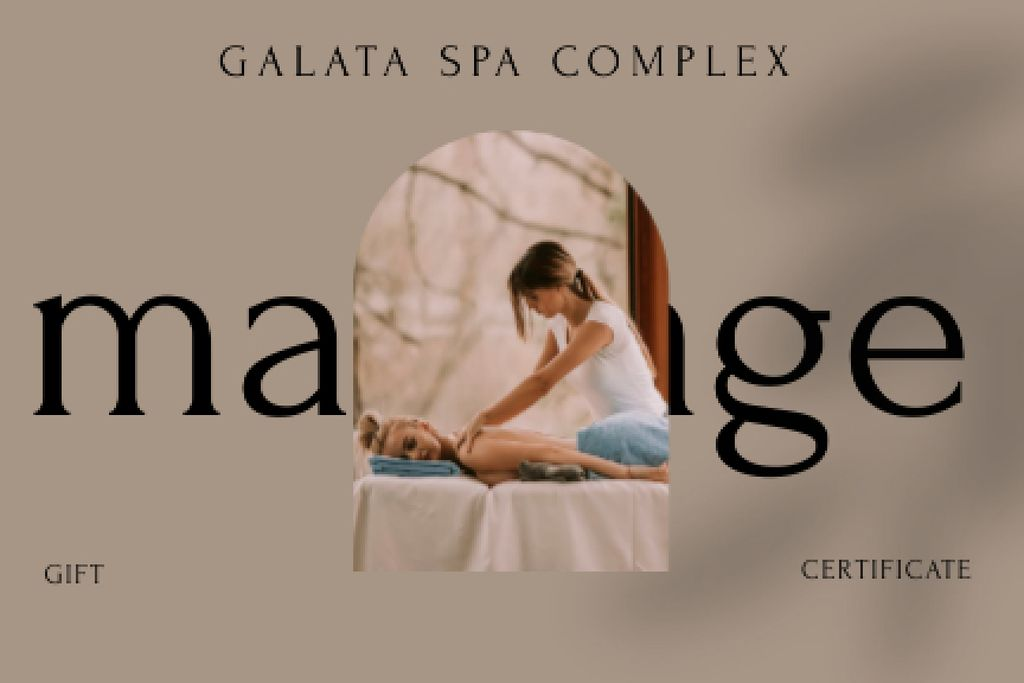 Woman at Spa Massage Therapy Gift Certificate – шаблон для дизайна