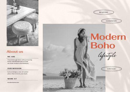 Ontwerpsjabloon van Brochure van Modern Interior Offer with Garden Table
