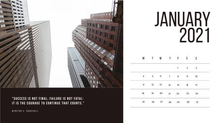 New York skyscrapers with Business quotes Calendar Design Template