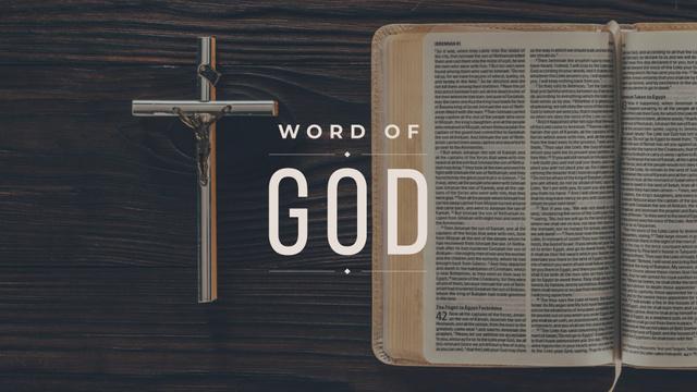 Ontwerpsjabloon van Presentation Wide van Holy Bible and Jesus Christ On Cross the crucifixion