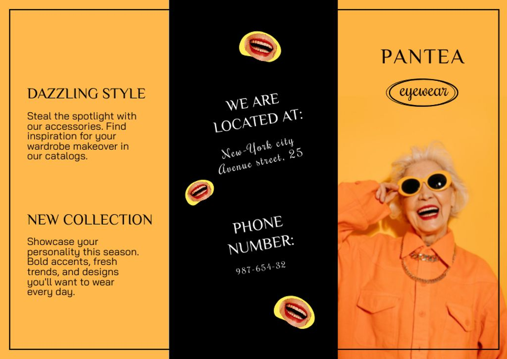 Old Woman in Stylish Orange Outfit and Sunglasses Brochureデザインテンプレート