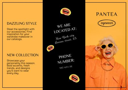 Template di design Old Woman in Stylish Orange Outfit and Sunglasses Brochure
