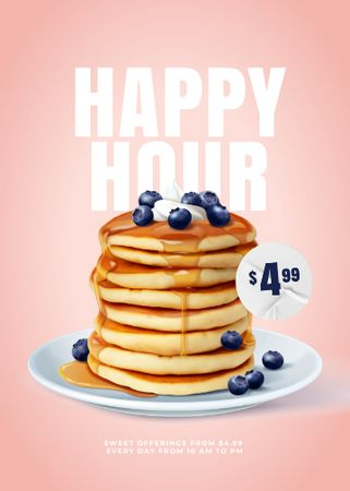 Sweet Pancakes with blueberries Flayer Modelo de Design