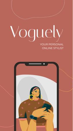 Online Stylist app promotion Mobile Presentation – шаблон для дизайну
