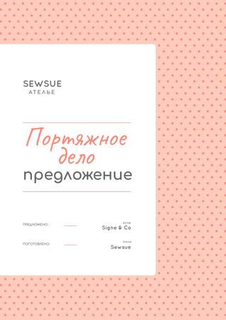Sewing Atelier service in pink Proposal – шаблон для дизайна
