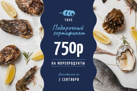 Restaurant Offer with Seafood and Fish Gift Certificate – шаблон для дизайна