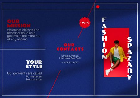 Fashion Ad with Stylish Young Guy Brochure Modelo de Design