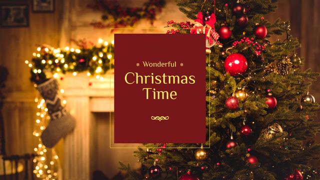 Plantilla de diseño de Christmas Tree in Decorated Home Presentation Wide