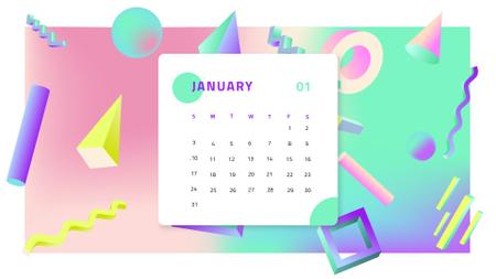 3D colorful Memphis pattern Calendar Design Template