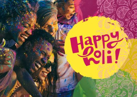 Template di design Indian Holi festival celebration Postcard