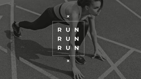 Plantilla de diseño de Citation with Woman on Running Start Presentation Wide