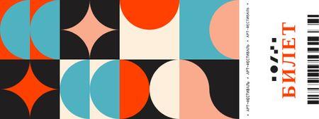 Art Festival with Abstract Geometric Figures Ticket – шаблон для дизайна