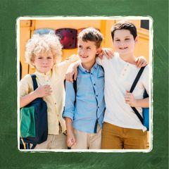 Cute Kids near School Bus