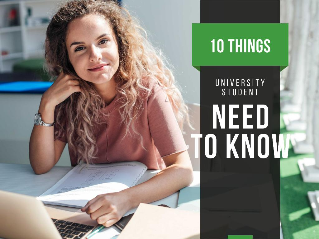 University Education Tips with Woman Working on Laptop Presentation Design Template