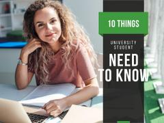 University Education Tips with Woman Working on Laptop