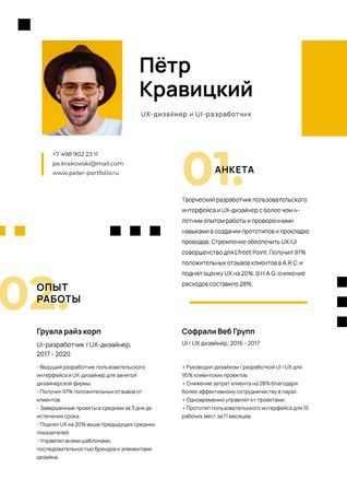 Designer professional Skills and Experience Resume – шаблон для дизайна