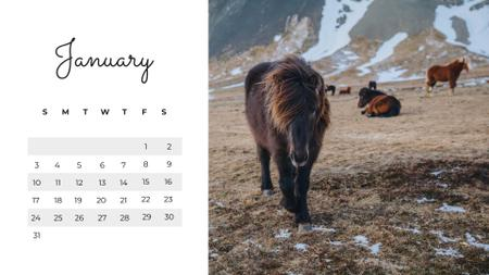 Wild Animals in natural habitat Calendar Design Template