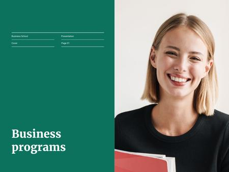 Business School Services Offer with Smiling Student Presentation Design Template