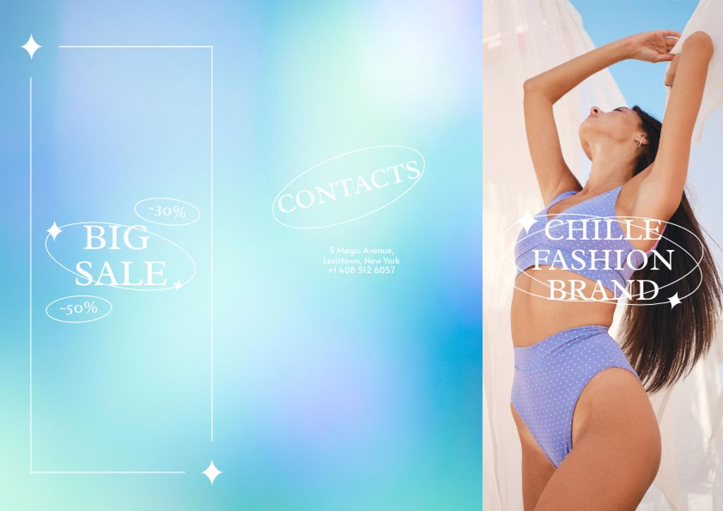 Fashion Sale Ad with Woman in Swimsuit Brochureデザインテンプレート