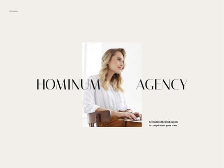 Recruiting Agency Services Offer with Successful Businesswoman Presentation Design Template