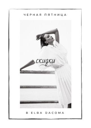 Black Friday Sale Woman wearing White Clothes Flayer – шаблон для дизайна