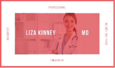 Confident doctor with stethoscope Business card Modelo de Design