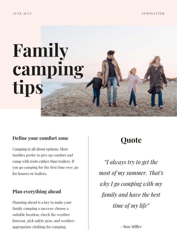 Family Camping Tips with Family on the beach Newsletter – шаблон для дизайну