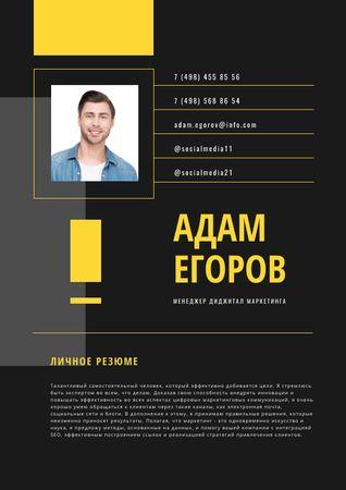 Marketing Manager professional profile Resume – шаблон для дизайна