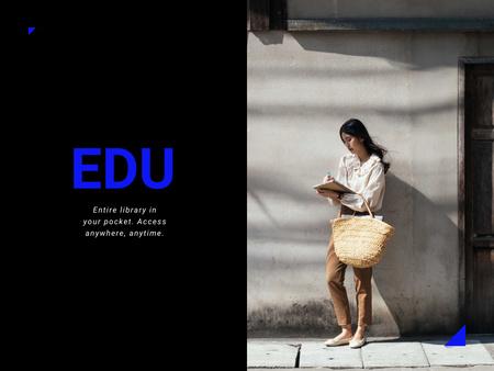 Ontwerpsjabloon van Presentation van Educational App Ad with Girl writing in Notebook
