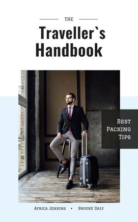 Businessman with Travelling Suitcase Book Cover Design Template