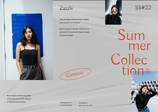 Summer Fashion Collection Announcement with Stylish Girl Brochureデザインテンプレート