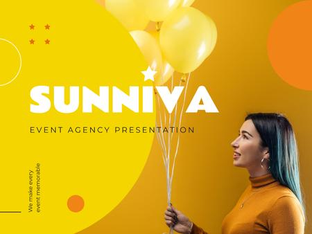 Event Agency Ad with Girl Holding Yellow Balloons Presentation tervezősablon