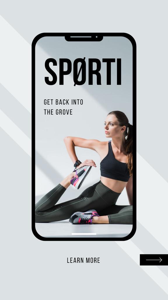 Sports App promotion with Woman training — Créer un visuel