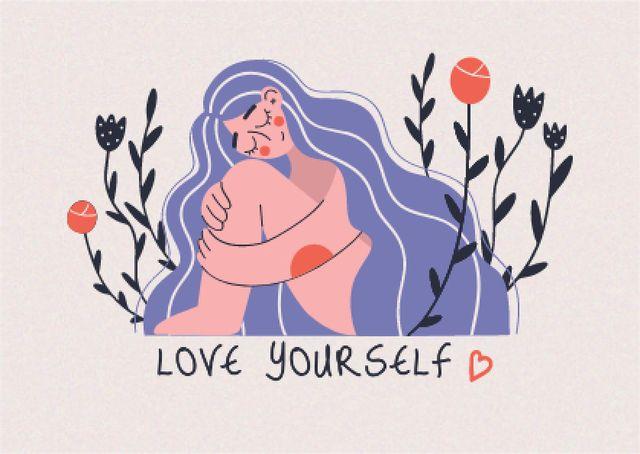 Mental Health Inspirational Phrase with Cute Girl Postcardデザインテンプレート