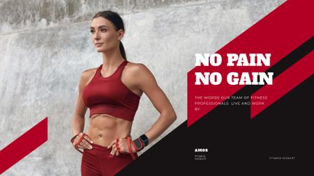 Plantilla de diseño de Fitness Program promotion with Woman at Workout Presentation Wide