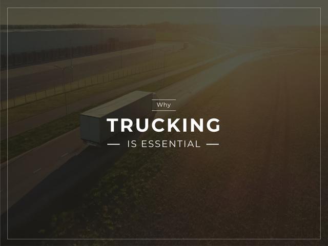 Designvorlage Truck driving on a road für Presentation