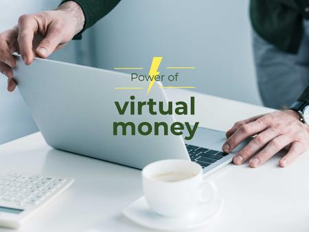 Virtual Money Concept with Man Working on Laptop Presentationデザインテンプレート