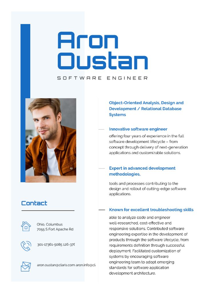 Modèle de visuel Software Engineer Professional Skills and Experience  - Resume