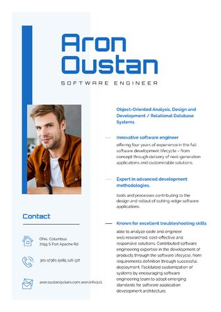 Ontwerpsjabloon van Resume van Software Engineer Professional Skills and Experience