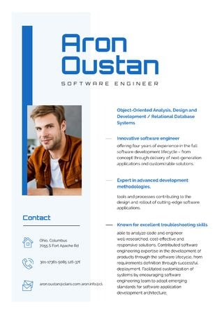 Plantilla de diseño de Software Engineer Professional Skills and Experience  Resume