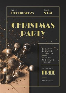 Christmas Party Invitation Shiny Golden Baubles