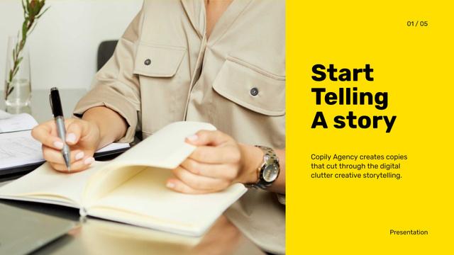 Copywriting Agency promotion Presentation Wide – шаблон для дизайна