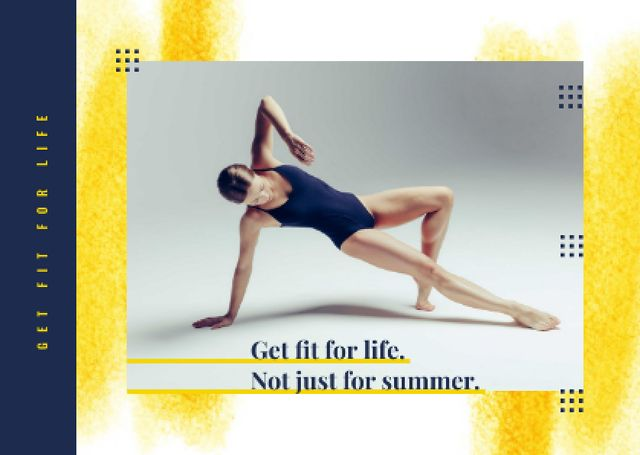 Sport Inspiration with Passionate Professional Dancer Postcard Design Template