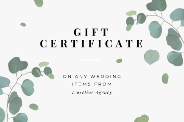 Wedding Items offer Gift Certificate Design Template
