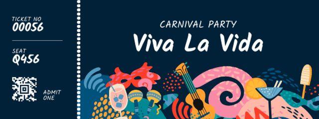 Ontwerpsjabloon van Ticket van Carnival Party with Bright Attributes