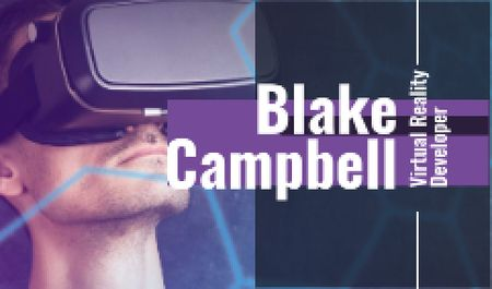 Man using vr glasses Business card Modelo de Design