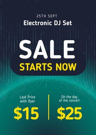 Electronic DJ Set Tickets Offer in Blue Flayer – шаблон для дизайну