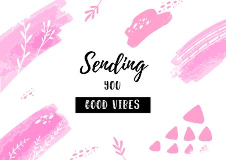 Good Vibes greeting in pink Postcard Design Template