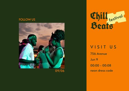Template di design People having Fun on Festival Brochure